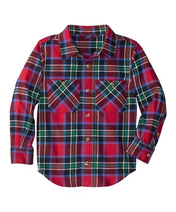 Red Plaid Fleecy Flannel Button-Up - Infant, Toddler & Boys