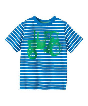 Blue & White Stripe Tractor Tee - Infant, Toddler & Boys