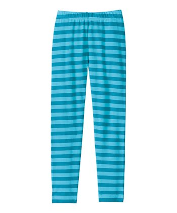 Blue Stripe Livable Leggings - Girls