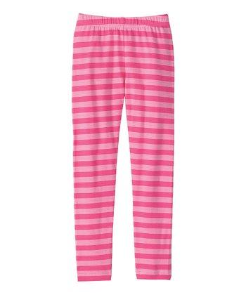 Pink Stripe Livable Leggings - Girls