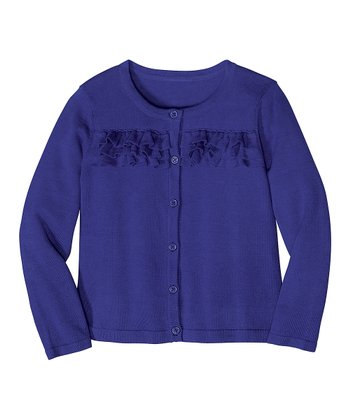 Purple Jewel Ruffle Cardigan - Infant, Toddler & Girls