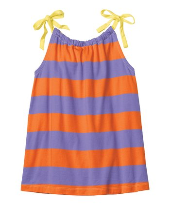 Tiger Orange & Lilac Stripe Swing Top - Infant, Toddler & Girls