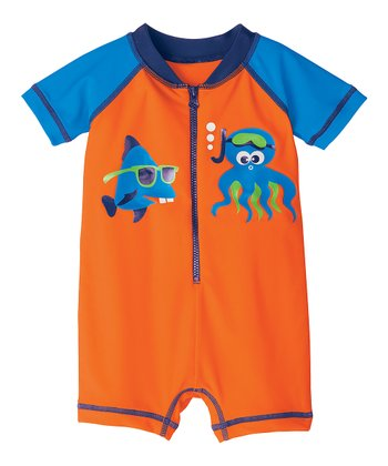Orange & Blue Swimmy One-Piece Rashguard - Infant