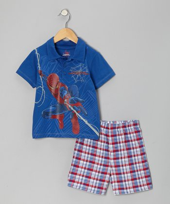 Blue Plaid Spider-Man Polo & Shorts - Toddler & Boys