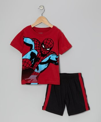 Red & Black Spider-Man Tee & Shorts - Toddler