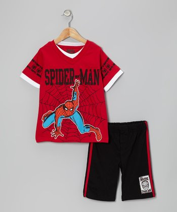 Red & Black Spider-Man Web Tee & Shorts - Infant & Boys