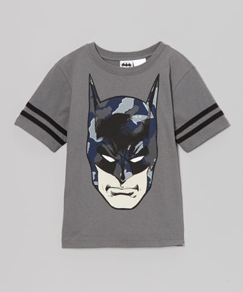 Gray Batman Face Tee - Kids