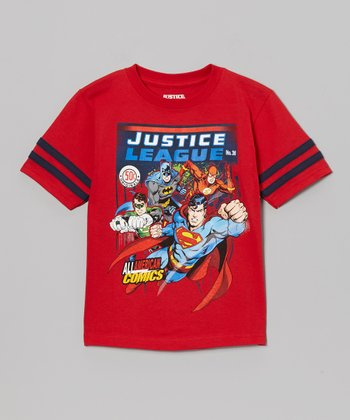 Red 'All American' Justice League Tee - Kids