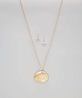 Gold Shell Pendant Necklace & Silver Starfish Earrings