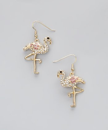 Gold & Pink Flamingo Earrings
