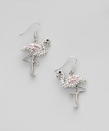Silver & Pink Flamingo Earrings