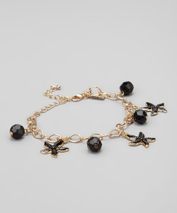 Black & Gold Starfish Charm Bracelet