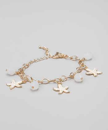 White & Gold Starfish Charm Bracelet