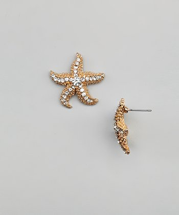 Gold Sparkle Starfish Earrings