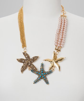 Gold Bead & Chain Starfish Necklace