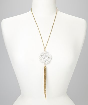 White & Gold Medallion Necklace