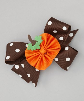 Brown Polka Dot Pumpkin Bow Clip Set