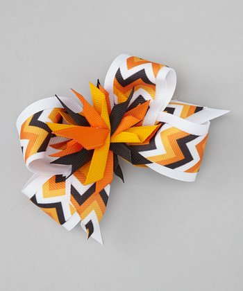 White & Orange Zigzag Surprise Bow Clip