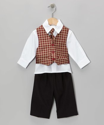 Burgundy Diamond Four-Piece Suit - Toddler & Boys