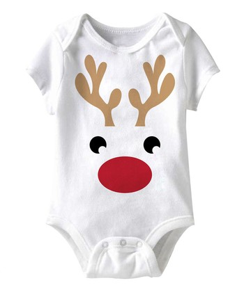 White Reindeer Bodysuit - Infant