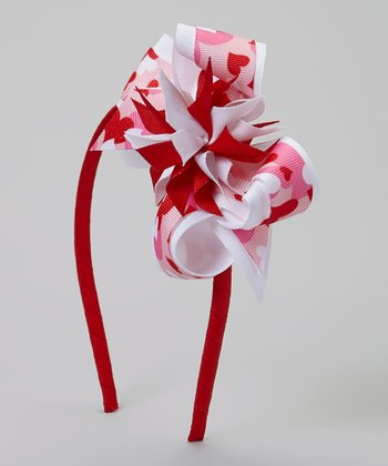 Red Camo Heart Bow Headband