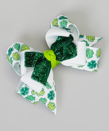 Green & White Shamrock Glitter Bow Clip