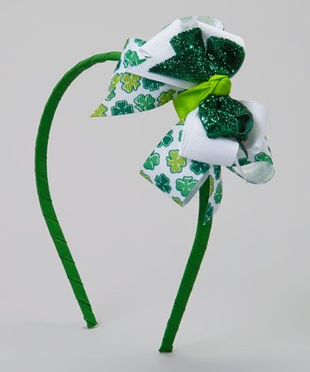 Green & White Shamrock Glitter Headband