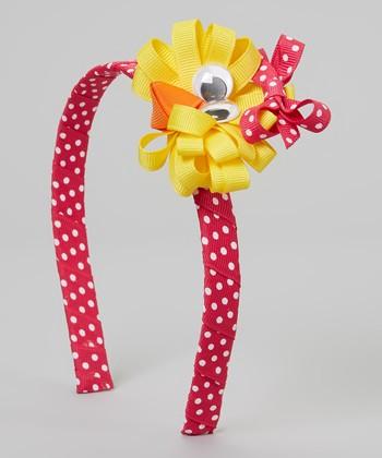 Pink & Yellow Polka Dot Easter Chick Headband