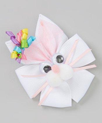 White & Pink Korker Bunny Clip