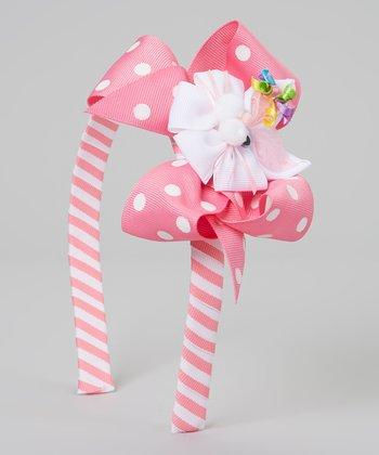 Pink Stripe Headband & Bunny Clip