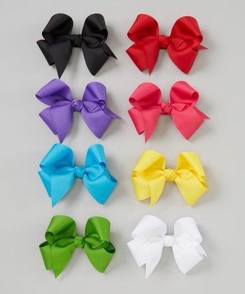 Yellow Bow Clip Set & Holder