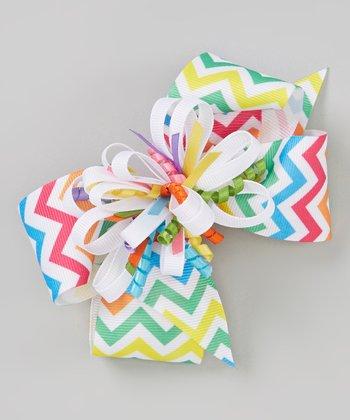White & Blue Zigzag Korker Bow Clip Set
