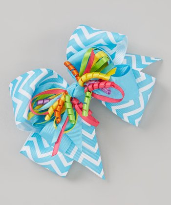 Turquoise Zigzag Popper Bow Clip