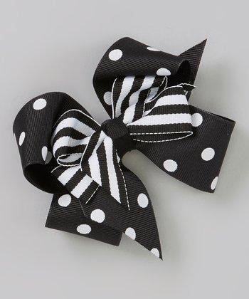 Black Polka Dot Layered Bow Clip