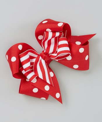 Red Polka Dot Layered Bow