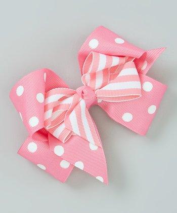Hot Pink Polka Dot Layered Bow Clip