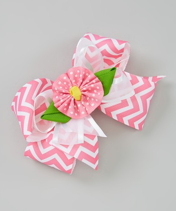 Pink Zigzag Flower Bow Clip