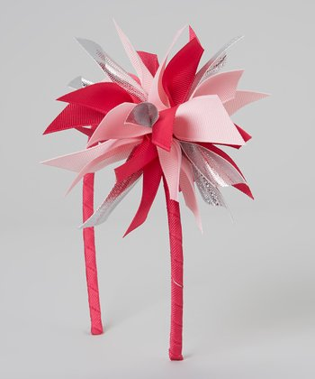 Pink & Silver Surprise Bow Headband