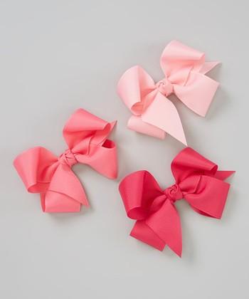 Pink, Light Pink & Hot Pink Bow Clip Set