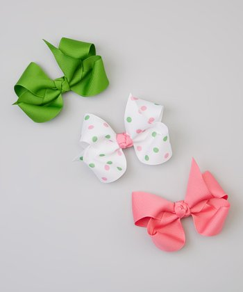 Green, Pink & White Polka Dot Bow Clip Set