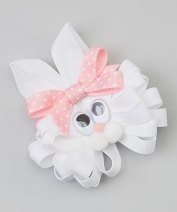 White & Light Pink Polka Dot Bunny Clip