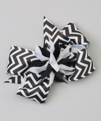 Black & White Zigzag Surprise Bow Clip