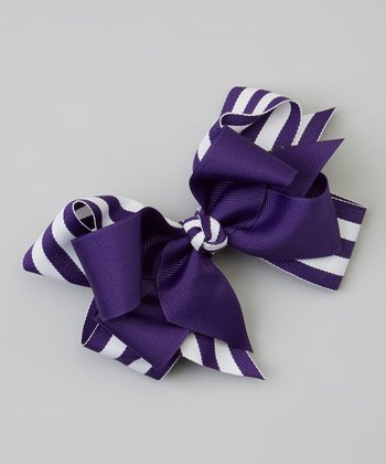 Royal Purple Double-Layer Stripe Ribbon Bow Clip