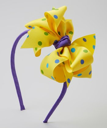 Delphinium & Canary Polka Dot Double-Layer Ribbon Bow Headband
