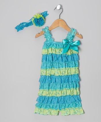 Teal & Lime Lace Ruffle Romper & Headband - Infant & Toddler