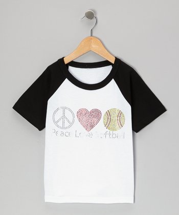 Black 'Peace Love Softball' Raglan Tee - Toddler & Girls