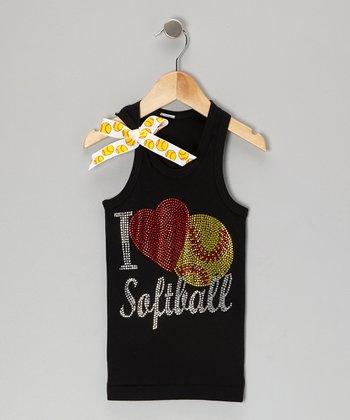 Black 'I Love Softball' Bow Tank - Toddler & Girls