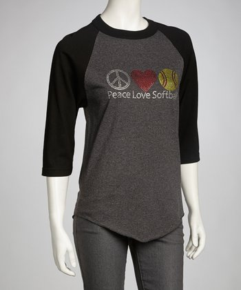 Black & Gray 'Peace Love Softball' Raglan Tee - Women
