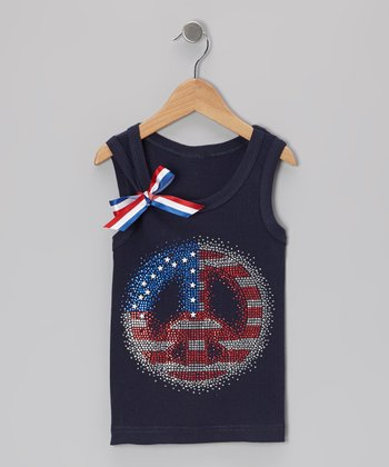Navy Flag Peace Sign Tank - Infant, Toddler & Girls