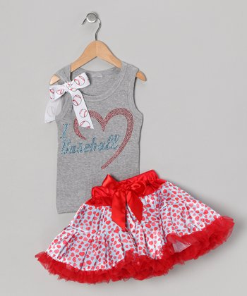 Gray Love Baseball Tank & Pettiskirt - Infant, Toddler & Girls